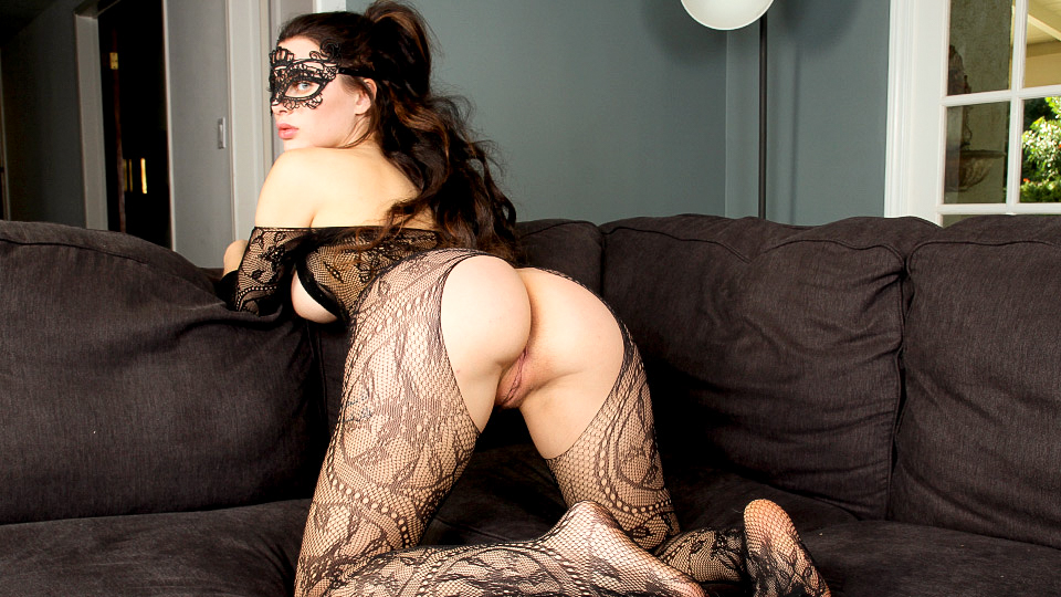 Lana Rhodes with lace mask rubs